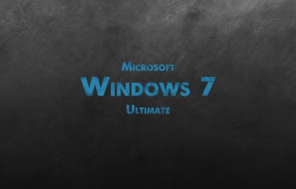 Картинка стена, windows 7, царапины, microsoft, черный фон, ultimate