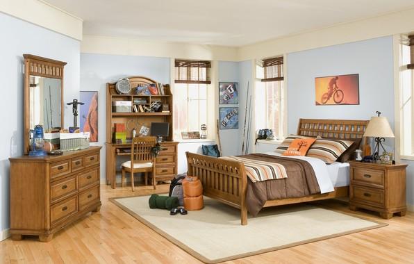 Картинка мебель, кровать, интерьер, подушки, детская комната