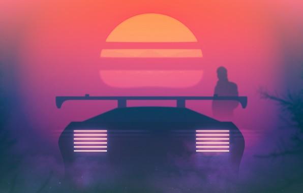 Картинка Закат, Солнце, Авто, Музыка, Машина, Звезда, Фон, 80s, Neon, Journey, Blade Runner, 80's, Synth, Retrowave, ...