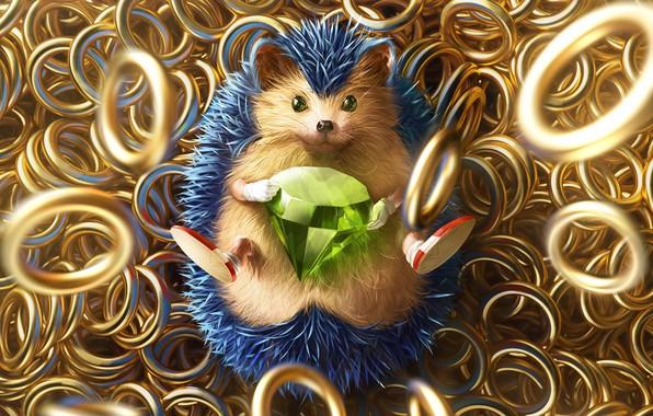Картинка Игра, Соник, Арт, Art, Кольца, Rings, Digital Art, Алмаз, Sonic, Fan Art, Characters, Ёж Соник, ...