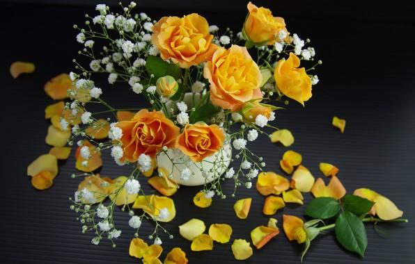 Картинка розы, букет, лепестки, жёлтые