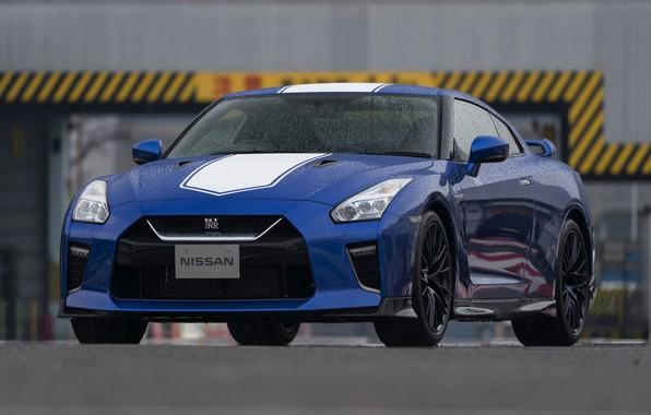 Картинка синий, Nissan, GT-R, сырость, R35, 50th Anniversary Edition, 2020, 2019