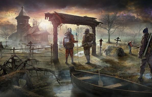 Картинка лодка, болото, арт, солдаты, чернобыль, Stalker, сталкер, черковь