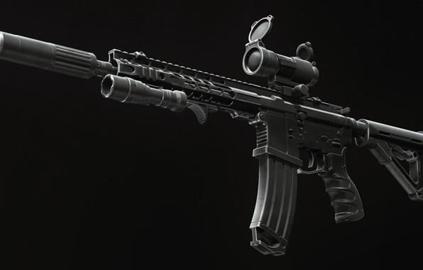 Картинка рендеринг, оружие, фонарик, винтовка, weapon, render, глушитель, custom, м16, ar-15, assault rifle, m16, assault Rifle, …
