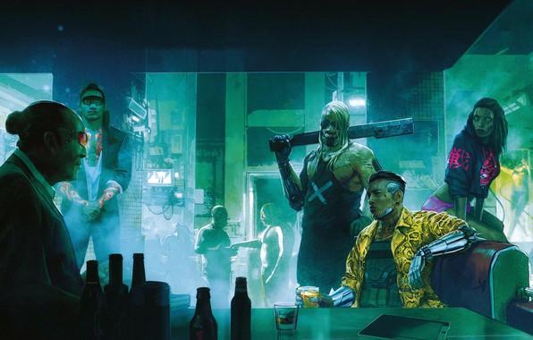 Картинка Рисунок, Город, Игра, Неон, Люди, Арт, Киборг, CD Projekt RED, Cyberpunk 2077, Киберпанк, Cyberpunk, Киберпанк …