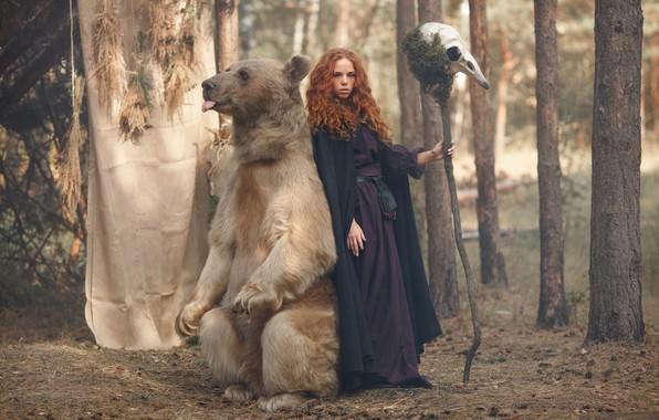 Картинка лес, девушка, череп, медведь, посох, рыжая, ведьма, рыжеволосая, Светлана Никотина