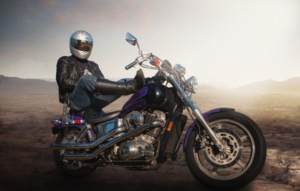 Картинка фон, человек, мотоцикл