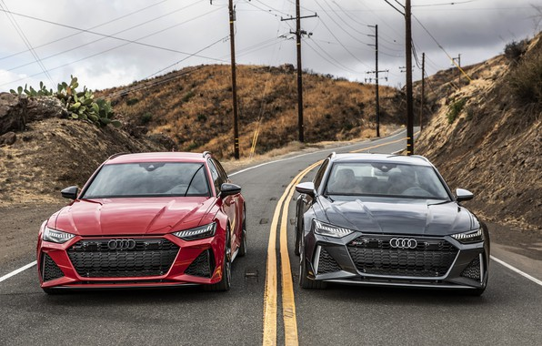 Картинка Audi, RED, Avant, RS6, ROAD, GREY
