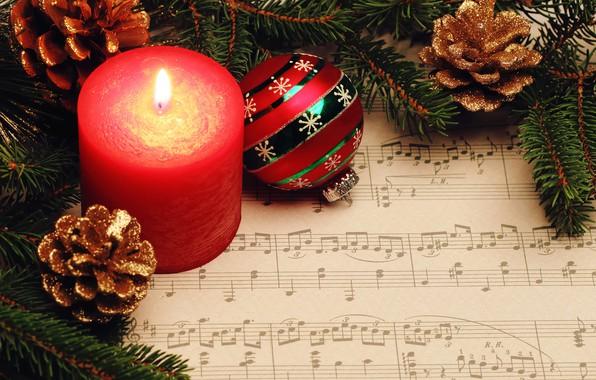 Картинка ноты, шар, свеча, Новый год, Christmas, шишки, New Year