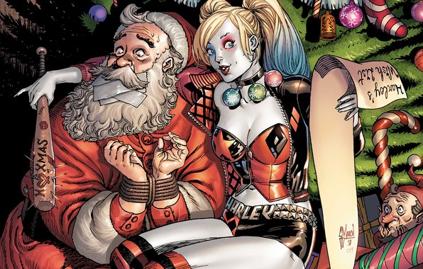 Картинка fantasy, Christmas, comics, elf, artwork, superhero, Christmas tree, Santa Claus, fantasy art, decorations, DC Comics, …