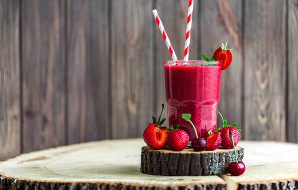 Картинка вишня, стакан, ягоды, клубника, напиток, смузи