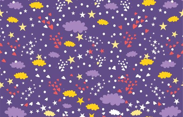 Картинка небо, звезды, фон, обои, текстура, сердечки, stars, Background, Heart, Pattern