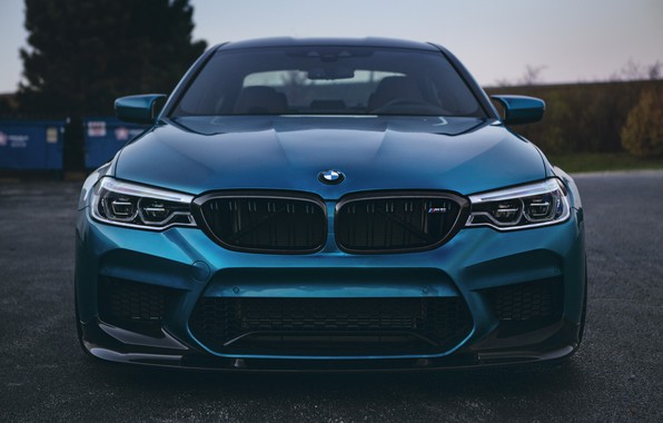 Картинка BMW, Blue, Front, Face, Sight, LED, F90