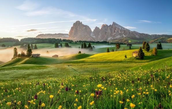 Картинка горы, туман, утро, Италия, Доломитовые Альпы, Альпе-ди-Сьюзи
