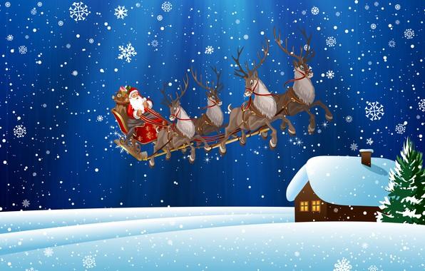Картинка Зима, Снег, Дом, Рождество, Снежинки, Фон, Новый год, Праздник, Санта Клаус, Арт, Олени, Дед Мороз, …