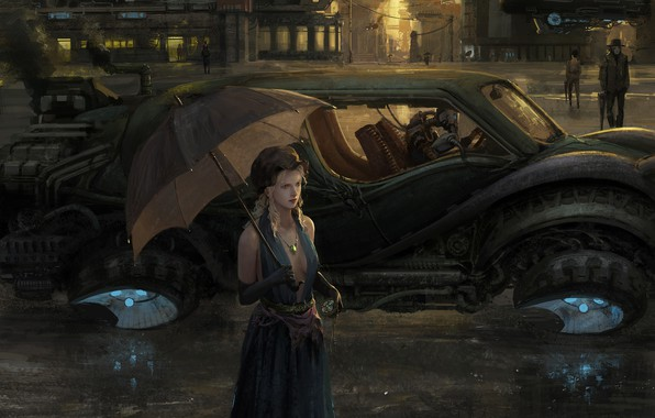 Картинка машина, девушка, дождь, улица, зонт, арт, art, Sci-Fi