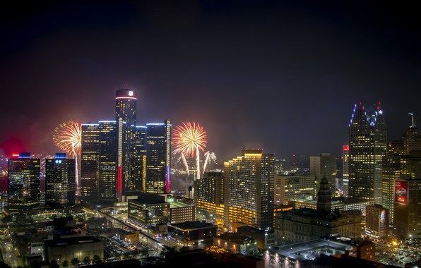 Картинка ночь, огни, праздник, фейерверк, Детройт