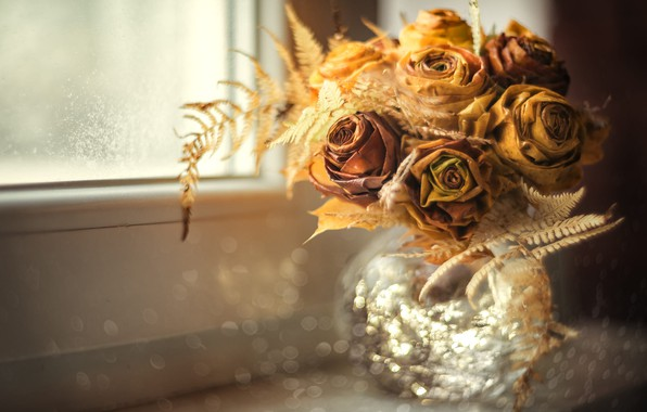 Картинка свет, цветы, розы, букет, желтые, сухой, окно, сухие, ваза, подоконник, бутоны, папоротник, боке