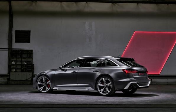 Картинка Audi, сбоку, универсал, RS 6, 2020, 2019, тёмно-серый, V8 Twin-Turbo, RS6 Avant
