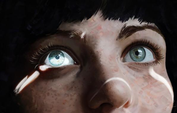 Картинка lights, Girl, art, blue eyes, face, artwork, nose, close up, freckles