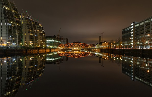 Картинка ночь, мост, город, огни, река, здания, дома, фонари, США, Detroit, Детройт