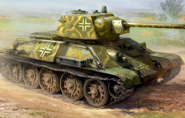 Картинка Германия, танк, вермахт, средний, панцерваффе, Иван Хивренко, Трофей, т-34-76