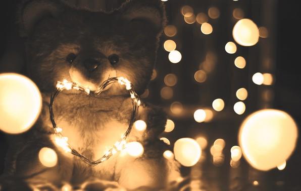 Картинка lights, love, heart, romantic, mood, blur, bokeh, teddy bear, cute, garland, moods, 4k ultra hd …