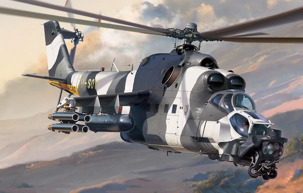 Картинка ударный вертолёт, Модификация Ми-24В, ATE, Ми-24 Super Hind Mk. III