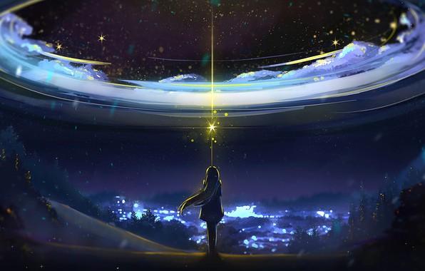 Картинка Sky, Anime, Night, Scenery