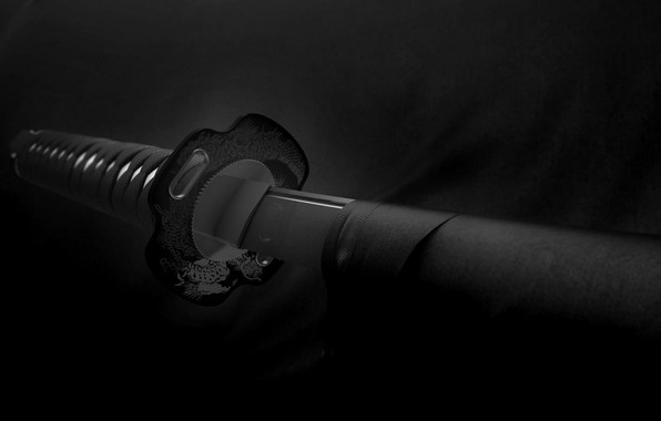 Картинка black & white, sword, weapon, monochrome, samurai, b&w, Katana