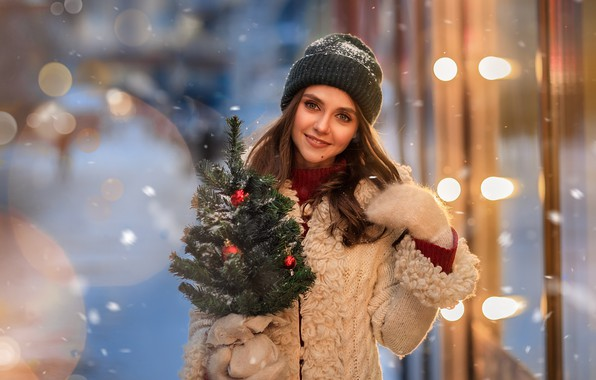 Картинка девушка, снег, улыбка, настроение, милая, шапка, ёлочка, варежки, Юлия Московкина
