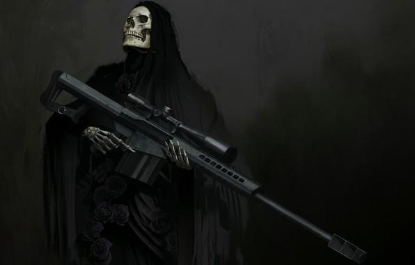 Картинка оружие, череп, фэнтези, арт, скелет, капюшон, прицел, снайперская винтовка
