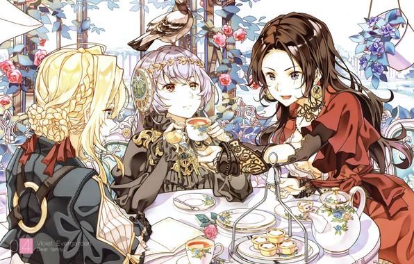Картинка голубь, прическа, чаепитие, сладости, тарелки, красное платье, беседка, сервиз, угощение, три девушки, куст роз, Violet …
