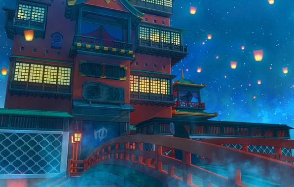 Картинка Мост, Ночь, Звезды, Свечи, Замок, Здание, Архитектура, Stars, Bridge, Night, Castle, Building, Architecture, Candles, Aiko …