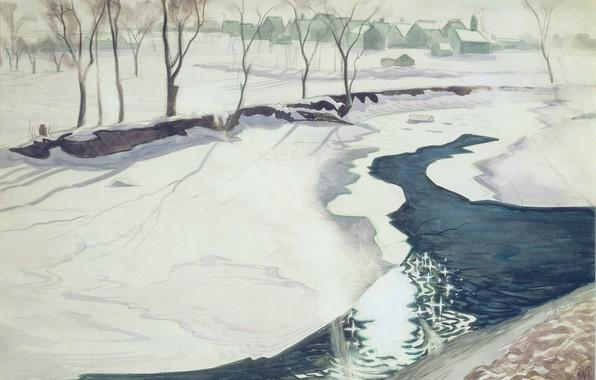 Картинка 1931, Charles Ephraim Burchfield, Winter Landscape with Stream