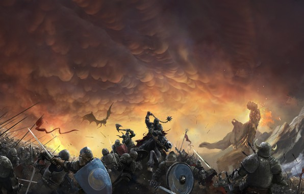 Картинка Небо, Дракон, Война, Доспехи, Тучи, Бой, Солдаты, Рыцари, Битва, Fantasy, Clouds, Sky, Dragon, Фантастика, War, ...