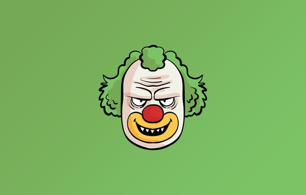 Картинка minimalism, face, fear, digital art, artwork, Clown, simple background, teeth, green background