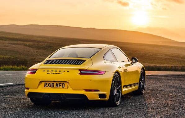 Фото обои 911, Porsche, вид сзади, Coupe, 2018, Carrera T