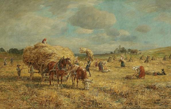 Картинка German painter, немецкий живописец, oil on canvas, Карл Штульмюллер, Karl Stuhlmüller, Bei der Heuernte, На …