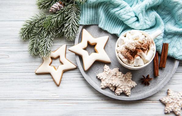 Картинка печенье, свитер, какао, пряности