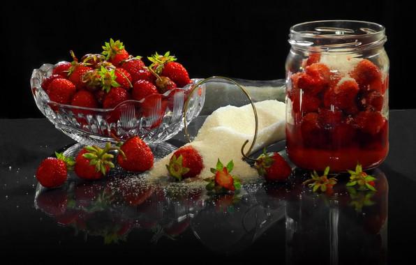 Картинка песок, стакан, ягоды, клубника, банка, сахар, вазочка, Сергей Фунтовой