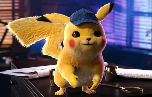 Картинка кино, кепка, пикачу, постер, покемон, детская, Detective Pikachu, the Pokémon Cinematic Universe
