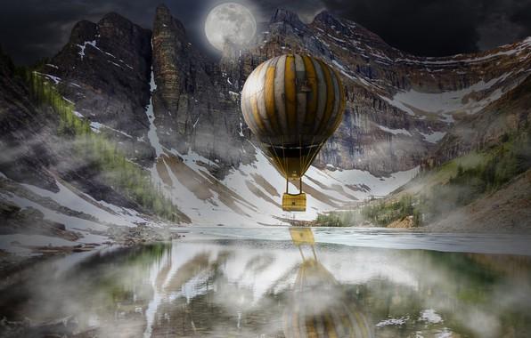 Картинка зима, лес, снег, пейзаж, горы, ночь, природа, туман, отражение, воздушный шар, рендеринг, скалы, луна, корзина, …