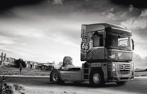 Картинка дорога, скалы, растительность, пустыня, грузовик, Renault, кактусы, Route 66, Magnum, седельный тягач, 4x2, Renault Trucks