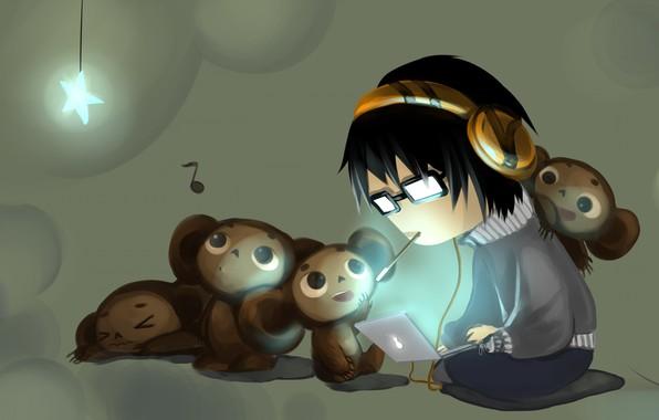Картинка аниме, малыш, арт, ноутбук, чебурашка, детская