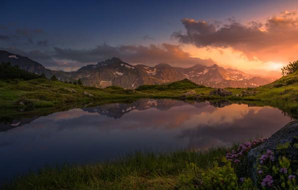 Картинка небо, закат, горы, озеро, отражение, Friedrich Beren