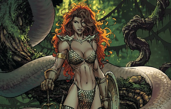 Картинка girl, sword, fantasy, snake, trees, weapon, comics, redhead, artwork, shield, warrior, fantasy art, Red Sonja, …