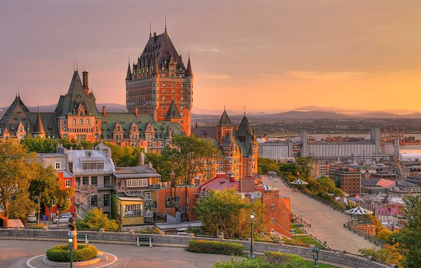 Картинка замок, Канада, Квебек, Шато-Фронтенак