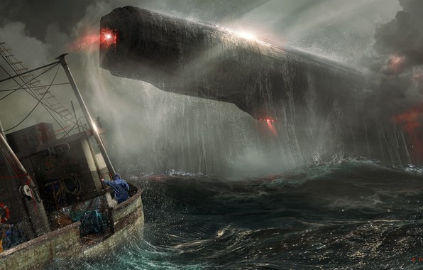 Картинка Море, Шторм, Судно, Fantasy, Арт, Art, Космический Корабль, Фантастика, Concept Art, Spaceship, Vehicles, Science Fiction, ...