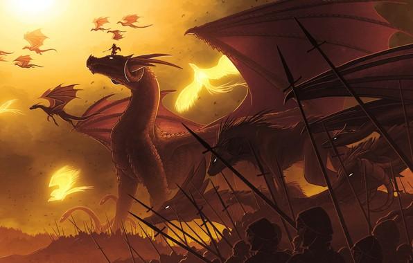 Картинка fantasy, soldiers, horns, flying, phoenix, wings, army, weapons, digital art, artwork, warriors, fantasy art, spears, …